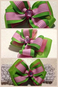 Pink and Green Hair Bow by HelloKourtneyBows on Etsy, $5.00    Please favorite my Etsy store and like me on facebook at Hello Kourtney Bows. :)