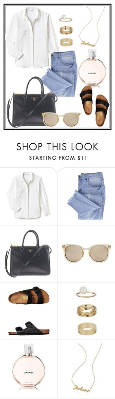 """My style essentials"" by sarah-rayye ❤ liked on Polyvore featuring Lacoste, Essie, Prada, Quay, Birkenstock, Miss Selfridge, Chanel and Mark & Graham"