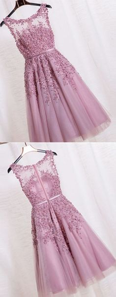 Elegant Prom Dress, Appliques Beaded Prom Dress, Formal Dress for Homecoming, Tulle Prom Dress - Evening Dresses Models Prom Dresses 2016, Elegant Prom Dresses, Dresses Short, Pretty Dresses, Dress Formal, Prom Gowns, Dresses Dresses, Teen Dresses, Ball Gowns