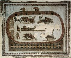 Circus Games, from Carthage, Roman, end of 2nd century AD (mosaic), Musee National du Bardo, Le Bardo, Tunisia / The Bridgeman Art Library