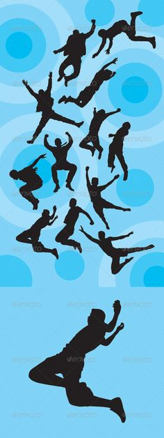 Man Jumping Silhouettes