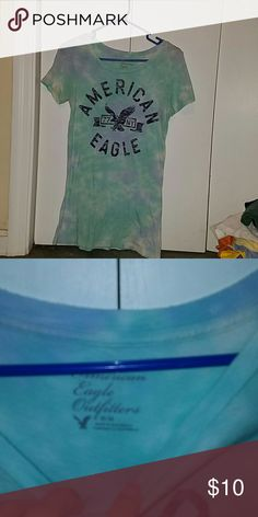 AE T shirt Almost like a blue and green tye dye. Very cute. One of my favorites. American Eagle Outfitters Tops Tees - Short Sleeve