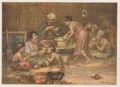 Jetses Gezin in Java Indonesian Women, Dutch East Indies, Dutch Colonial, Old Paintings, Southeast Asia, Traditional Art, Arts And Crafts, Bogor, Java