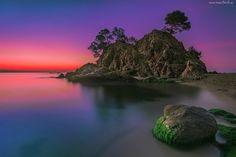 Ocean, Wyspa, Skały, Zachód Słońca