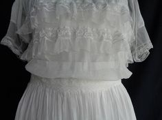 1900's dress white long Edwardian lace XS