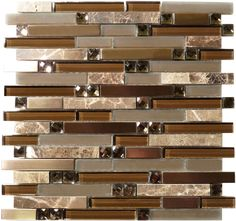 Tile Size: Random Bricks Tiles per sheet: 93 Tile thickness: Grout Joints: Sheet Mount: Mesh Backed Sold by the sheet Modern Mosaic Tile, Glass Mosaic Tiles, Metallic Wall Tiles, Brick Tiles, Wall And Floor Tiles, Interior Exterior, Exterior Colors, Modern Wall, Modern Glass