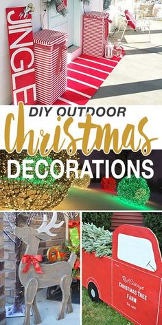 Put a little effort into decorating outdoors for the holidays this year, and share that Christmas cheer with passerby and friends alike Christmas Yard Decorations, Christmas Tree Farm, Christmas Home, Christmas Crafts, Christmas Ideas, Outdoor Decorations, House Decorations, Diy Decoration, Rustic Christmas