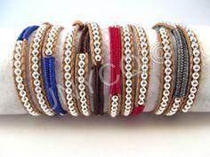Wikkelarmbanden - Trendy leren triple herringbone wrap grijs/zilver - Een uniek product van Unycq op DaWanda