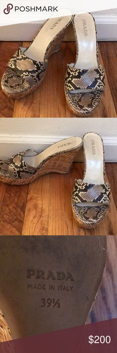 100% Authentic Prada Wedges! Prada snakeskin wedges are 100% authentic. These shoes are in good condition with no visible signs of wear on the soles. The wedge is made of wicker and the snake print is dark brown and gray. Prada Shoes Wedges
