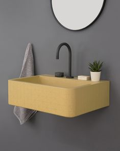 Kast Launches Collection of Patterned Concrete Basins Called Kast Canvas - Design Milk Gelbes Badezimmer Bad Inspiration, Bathroom Inspiration, Wc Retro, Pattern Concrete, Concrete Basin, Concrete Counter, Toilette Design, Canvas Designs, Bathroom Fixtures