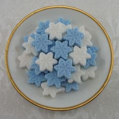 Cute Blue & White Mini Christmas Winter Snowflake Shaped Sugar Cubes - For Parties, Bridal Showers & Weddings - 42 Pieces by Sugars by Sharon on Gourmly