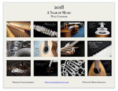 '2018: A Year of Music' calendar ~ 2018 Wall Calendar ~ Music Calendar ~ Musical Instrument Photography ~ Inspirational Calendar ~ New Year Gift Idea for Musician ~ Music Wall Art by #NancyJCreates #2018 #2018calendar #calendar #music #musiclover #musicgift #musicalinstrument #musician