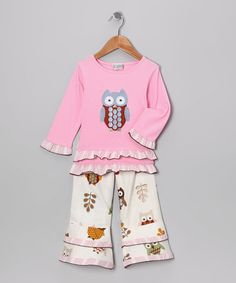 Take a look at this Pink Night Owl Tunic & White Ruffle Pants - Toddler & Girls by AnnLoren on #zulily today!