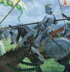 Battle of Bosworth - King Charge Medieval Knight, Medieval Armor, Medieval Fantasy, Battle Of Bosworth Field, Wars Of The Roses, Knight Art, Historical Art, Military Art, Funny Art