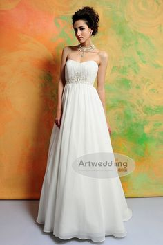 Ruched Sweetheart Chiffon Empire Bridal Gown with Appliqued Waist.$168.00