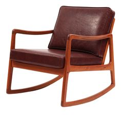 Ole Wanscher Teak & Leather Rocking Chair  Denmark  1960's