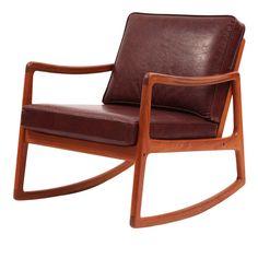 Ole Wanscher Teak & Leather Rocking Chair  Denmark  1960's
