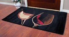 New Wine Glasses Area Rug Black Red 50 x 32 Doormat Kitchen Decor Floor Accent