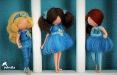 Waldorf Petruška inspirado en azul, azul colección, Adorno, regalo, figura, fieltro de lana, aguja de fieltro, amigos