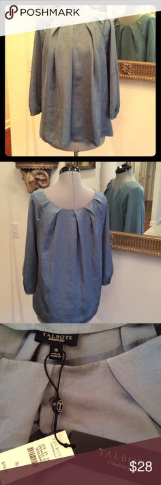 Talbots new XL New w tags Talbots polyester but feels like silk blouse, size 16, soft gray blue color Talbots Tops Blouses