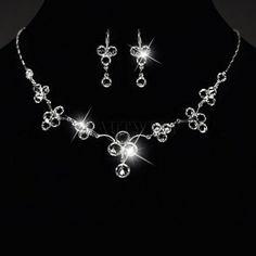 Brautschmuck Hochzeitsschmuck Kristallsteine Collier Ohrringe