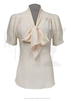 40s Style Pussy Bow Blouse - ivory crepe