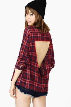 This is actually a hideously overpriced shirt, but I can totally alter a flannel for this. Lovely!