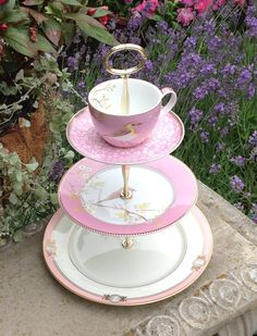 Pink Bird cake Tier Pip Studio and Gorham Pavia china    https://www.facebook.com/HelensRoyalTeaHouse?ref=tn_tnmn  http://www.etsy.com/shop/HelensRoyalTeaHouse