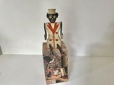 Antique Folk Art Wood Black Americana Handmade Doll  | eBay