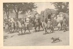 Circus, Clowns, Elephants, Ponies, A.B. Frost, Vintage, 1904 Antique Art Print, #Vintage