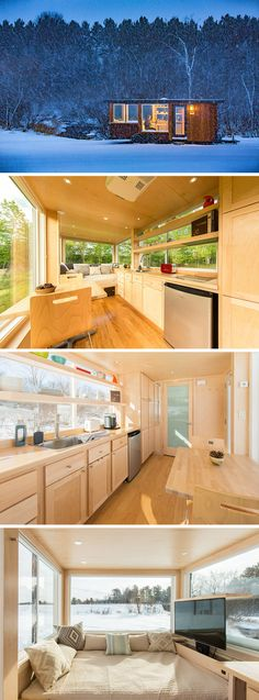 This beautifully designed tiny house by Escape Traveler features four large windows allowing for panoramic views of your surroundings.