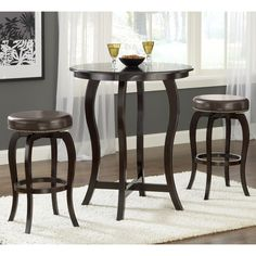 wilmington bistro bar height table u0026 brown stools hillsdale wooden round bistro pub bar height