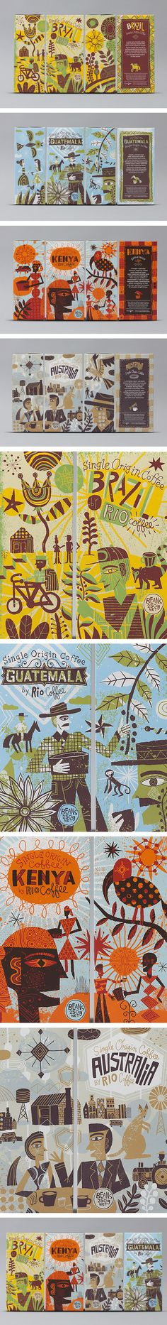 All the #illustrated coffee #packaging together. Rio Coffee, Single Origins by Voice Design PD