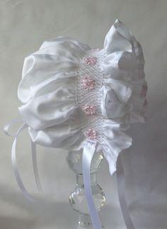 April Rose Hand Smocked Baby Girl's Bonnet by myheavenlydesigns