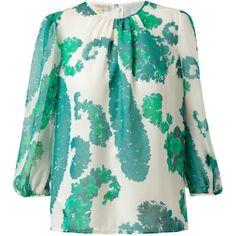 GIAMBATTISTA VALLI Floral Silk Blouse ($106,280) ❤ liked on Polyvore