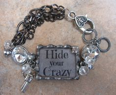 A new look to the Hide Your Crazy soldered rhinestone bracelet! www.nanettemc.etsy.com