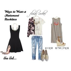 """""""statement necklaces"""" by annielhansen on Polyvore Statement Necklaces, Lbd, Stripes, Thoughts, Polyvore, How To Wear, Shopping, Fashion, Moda"""