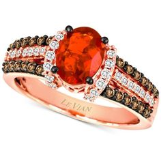 Le Vian Fire Opal (5/8 ct. t.w.) and Diamond (1/2 ct. t.w.) Ring in... ($1,326) ❤ liked on Polyvore featuring jewelry, rings, no color, diamond rings, 14k rose gold ring, chocolate diamond rings, chocolate rings and 14k ring