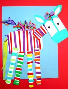 Cute Zebra collage...I am going to give each student a rectangle and let them pick the two colors for their stripes. I will add the face and tail --- the team will add the colorful mane and hair. Bulletin Board- From A to Z ________________