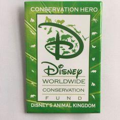 Disney Parks Worldwide Conservation Fund Hero Pin Button Animal Kingdom Green #Disney