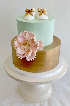 Glamour Baby Shower Cake Gold Mint Tiered Stacked Fondant Baby Booties Gold Bow Pink Peony - Fluffy Thoughts Cakes McLean VA Washington DC