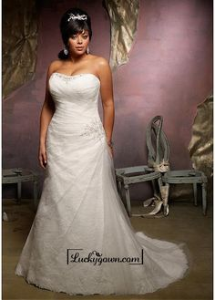 Alluring Tulle & Satin Sweetheart Neckline Natural Waistline A-line Plus Size Wedding Dress Plus Size Wedding Gowns, 2015 Wedding Dresses, Cheap Wedding Dress, Wedding Dress Styles, Bridal Dresses, Bridesmaid Dresses, Tulle Wedding, Dresses 2013, Ivory Wedding