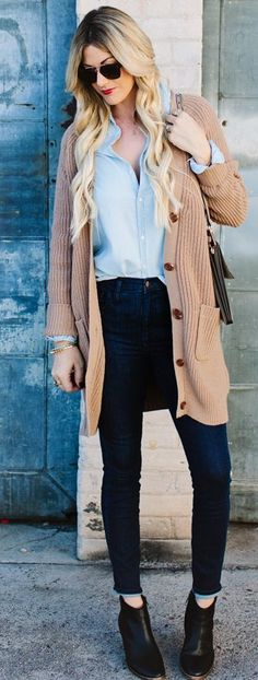Camel On Denim On Denim Fall Street Style Inspo by A Little Dash Of Darling