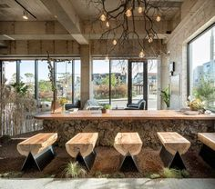 Image 9 of 23 from gallery of Cafe that Resembles Jeju Island / STARSIS. Photograph by Hong Seokgyu Rustic Coffee Shop, Coffee Shop Design, Cafe Design, Design Design, Restaurant Interior Design, Design Hotel, Modern Restaurant, Bar Deco, Decoration Vitrine