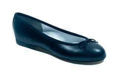 The Victoria black leather ballet flat with a 1.2cm heel and a comfort lining.