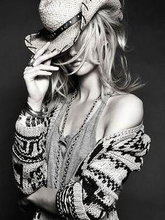 black and white, cowboy hat, fashion, girl
