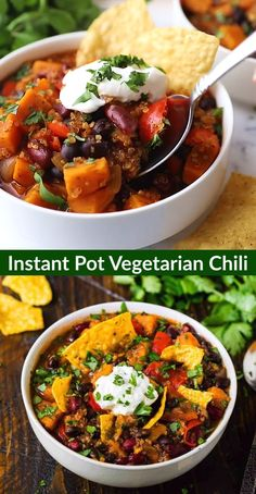 Instant Pot Vegetarian Chili with Black Beans, Quinoa, and Sweet Potatoes. Easy, healthy, and filling with the perfect blend of spice. Healthy Recipes, Chili Recipes, Soup Recipes, Squash Chili Recipe, Lunch Recipes, Pasta Recipes, Dessert Recipes, Muffin Recipes, Free Recipes