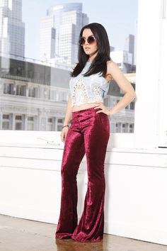 Red Crush Velvet Bellbottoms