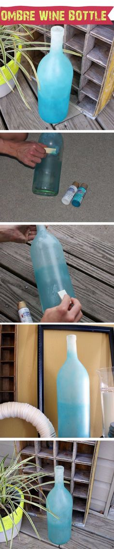 Wine Bottle DIY Crafts - DIY Frosted Ombre Wine Bottle  - Projects for Lights, Decoration, Gift Ideas, Wedding, Christmas. Easy Cut Glass Ideas for Home Decor on Pinterest http://diyjoy.com/wine-bottle-crafts
