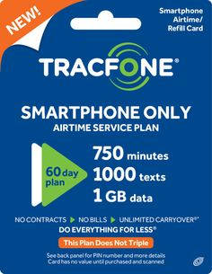 TracFone Smartphone Only Plan - 60 Days/750 Minutes/1000 Text/1GB Data - Buy Directly from TracFone #minutes #text #data #days #plan #smartphone #only #tracfone